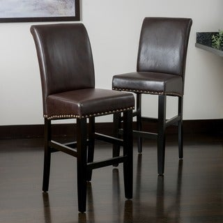 Lisette Leather Bar Stool (Set of 2) by Christopher Knight Home
