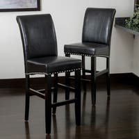 Lisette 47-inch Leather Bar Stool (Set of 2) by Christopher Knight Home