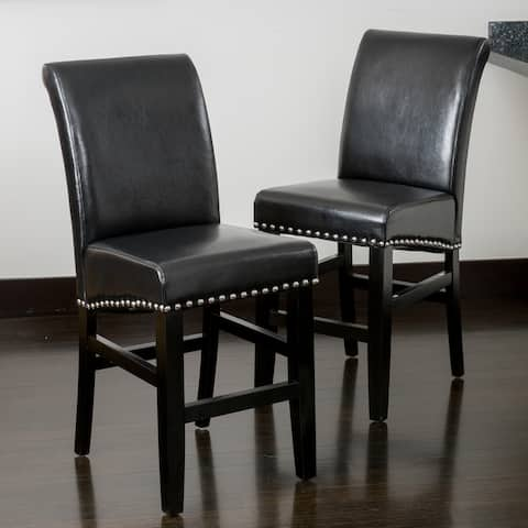Lisette 41-inch Leather Counter Stool (Set of 2) by Christopher Knight Home