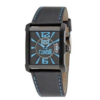 Just Cavalli Men's Rude Black Leather Strap Watch