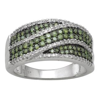 10k White Gold 9/10ct TDW Green and White Diamond Ring (H-I, I-3)