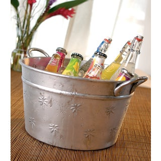 Round Aluminum Palm Tree Relief Party Tub