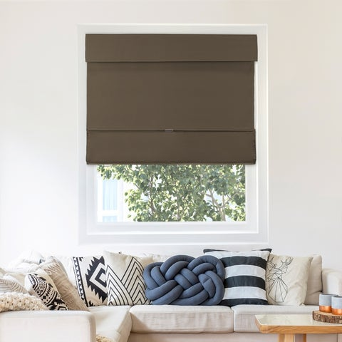 Chicology Cordless Magnetic Roman Shade, Mountain - Thermal, Room Darkening - Mountain Chocolate