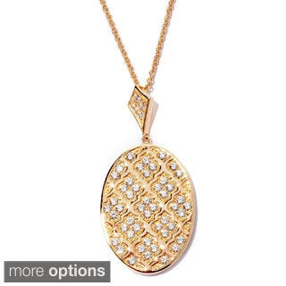 Sonia Bitton Platinum or Goldplated Sterling Silver Cubic Zirconia Damask Oval Pendant