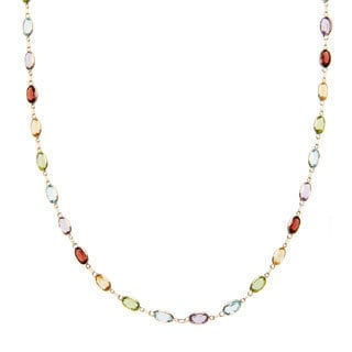 14k Yellow Gold 18 2/5 TGW Oval-cut Multi-gemstone Necklace