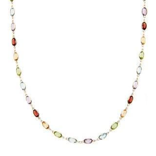 14k Yellow Gold 18 2/5 TGW Oval-cut Multi-gemstone Necklace