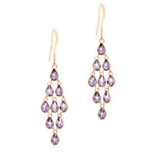 14k Rose Gold Amethyst Earrings
