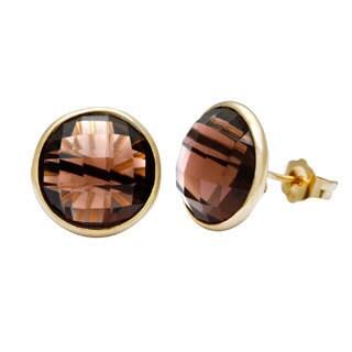 14k Yellow Gold Smokey Quartz Briolette Earrings