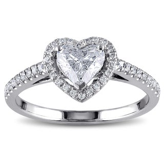 Miadora 14k White Gold 1ct TDW Diamond Heart Ring (More options available)