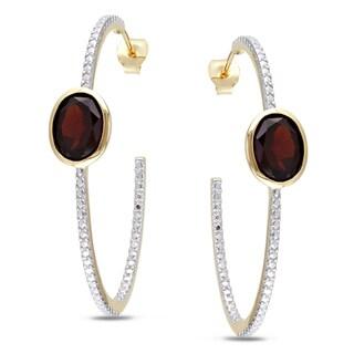 Miadora Yellowplated Silver 4ct TGW Garnet Hoop Earrings