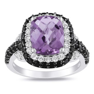 Miadora Sterling Silver Amethyst and Multi-gemstone Ring