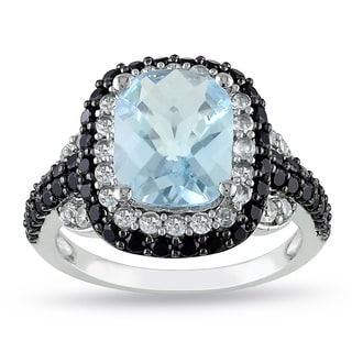Miadora Sterling Silver Blue Topaz and Multi-gemstone Cocktail Ring