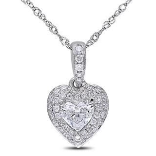 Miadora Signature Collection 14k White Gold 1/2ct TDW Diamond Heart Necklace