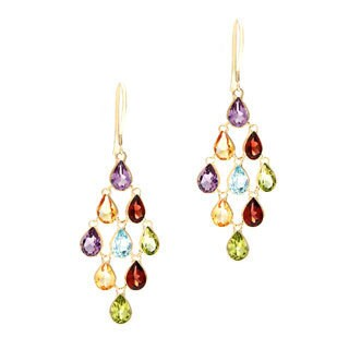 14k Yellow Gold Multi-gemstone Earrings