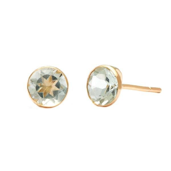 14k Yellow Gold Green Amethyst Earrings