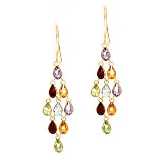 14k Yellow Gold Multi-gemstone Dangle Earrings