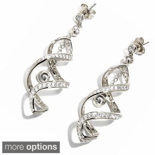 Sonia Bitton Platinum, Gold or Rose Goldplated Sterling Silver Cubic Zirconia Double Twirl Earrings