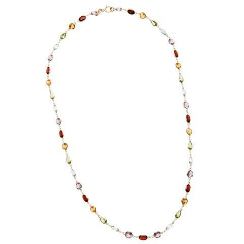 14k Yellow Gold Multi-color Gemstone Necklace