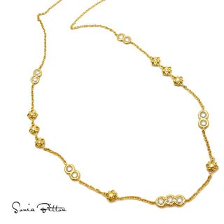 Sonia Bitton Goldplated Sterling Silver Cubic Zirconia Flower Station Necklace