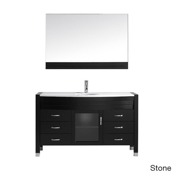 Virtu usa ava 55 inch espresso single sink vanity free shipping today 15882730 for 55 inch double sink bathroom vanity