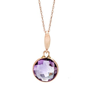 10k Rose Gold Amethyst Briolette/ Double Side Checkerboard Faceted Cut Pendant