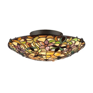 Tiffany-style 2-light Vintage-bronze Stained-glass Flush Mount