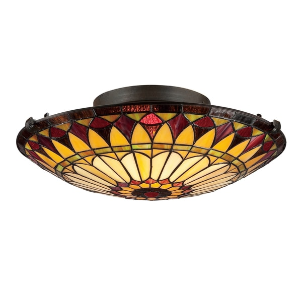 Quoizel West End Tiffany-style 2-light Vintage Bronze Flush Mount