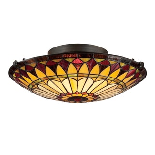 Quoize West End Tiffany-style 2-light Vintage Bronze Flush Mount