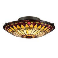 Gracewood Hollow Mekuli Tiffany-style 2-light Vintage Bronze Flush Mount