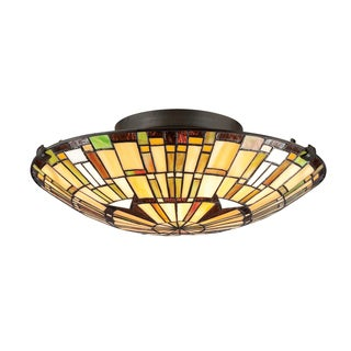 Tiffany-Style 2-light Vintage Bronze Flush Mount