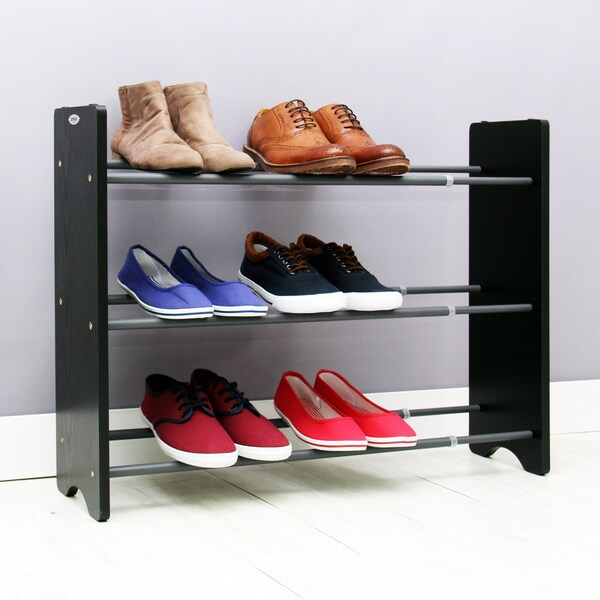 Shop Samsonite 3 Tier Black Expandable Shoe Rack Free