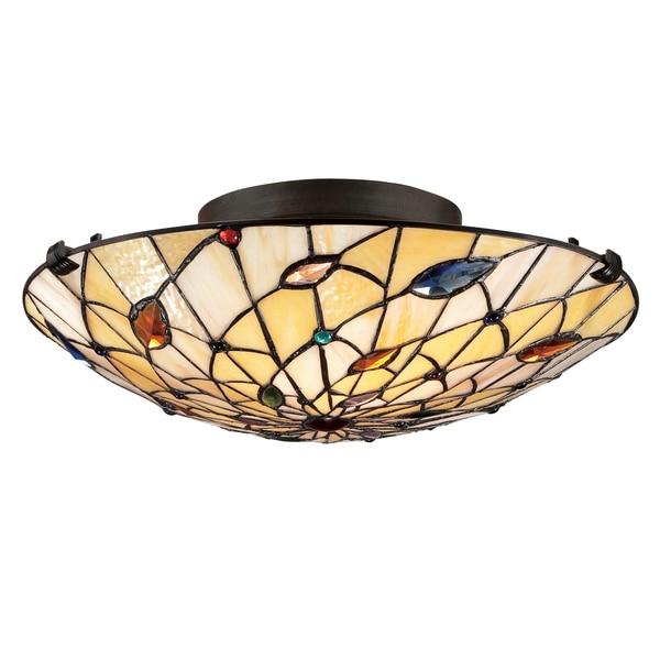 Foyer Lighting Tiffany Style : Quoizel tiffany style light vintage bronze art glass