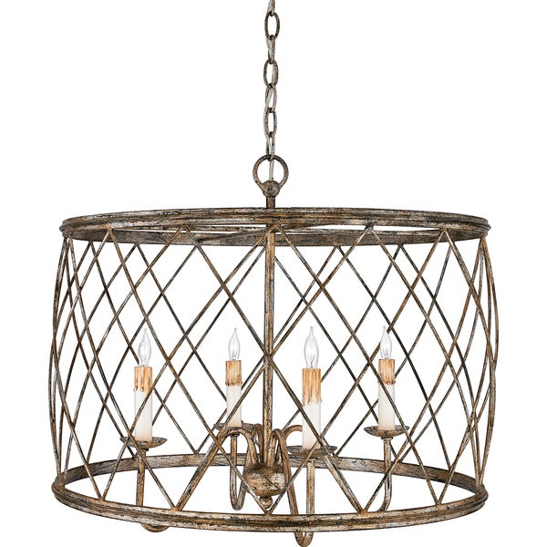 Shop Quoizel Dury 4-light Century Silver Leaf Pendant