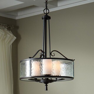 Quoize 'Adonis' 3-light Pendant with Clear Water Glass and Frosted Glass