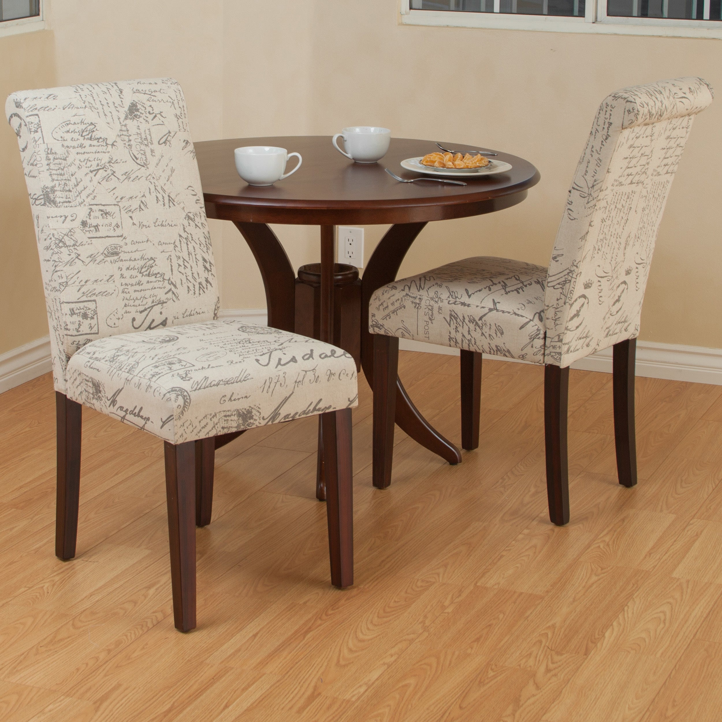 French Beige Printed Linen Dining Chair (Set of 2) by Chr...