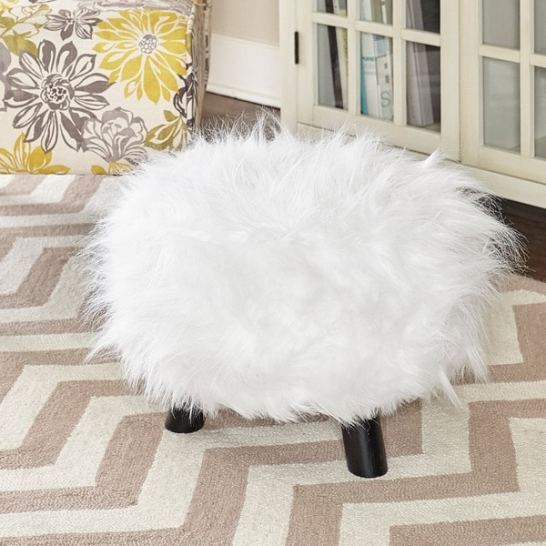 Shop Linon White Shag Faux Fur Ottoman Free Shipping