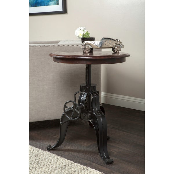Niketa Adjustable 22-inch Reclaimed Wood Crank Table By