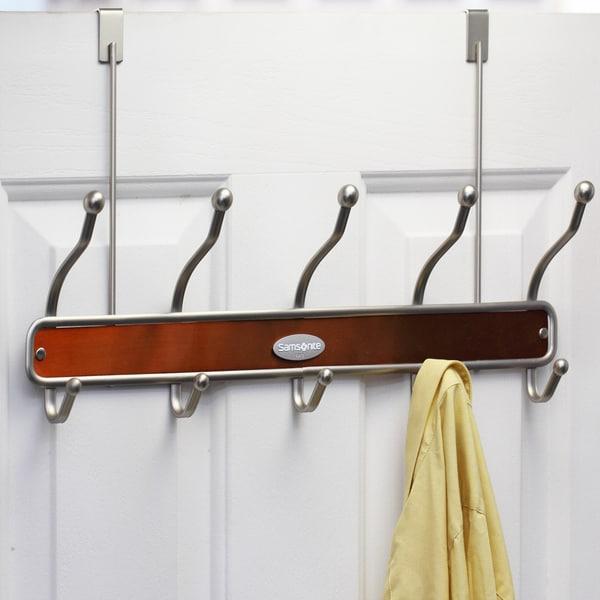 Samsonite 10-hook Satin Nickel/ Salmon Door Hanger