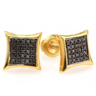 18K Yellow Gold Plated 1/10ct TDW Black Diamond Micro Pave Stud Earrings