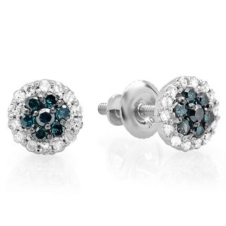 10k Gold 1/3ct TDW Blue and White Diamond Stud Earrings (I-J, I2-I3)