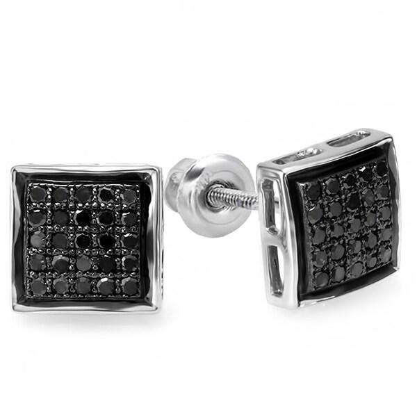 Elora Sterling Silver 1/4ct TDW Black Diamond Micro Pave Stud Earrings
