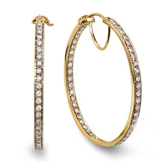 14k Yellow Gold 2ct TDW Round White Diamond Hoop Earrings (H-I, I1-I2)