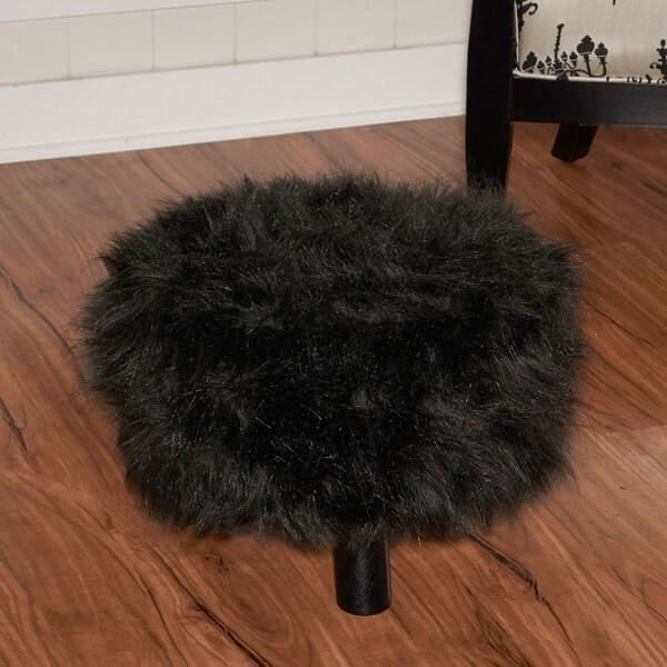 linon black shag faux fur ottoman