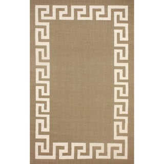 nuLOOM Flatweave Greek Key Brown Wool Rug (5' x 8')