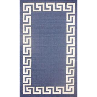 nuLOOM Flatweave Greek Key Blue Wool Rug (7'6 x 9'6)