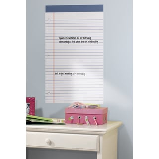 White Legal Pad Dry Erase Peel and Stick Wall Decal