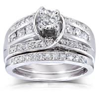 Annello by Kobelli 14k Gold 1ct TDW Round Diamond 2-piece Bridal Set