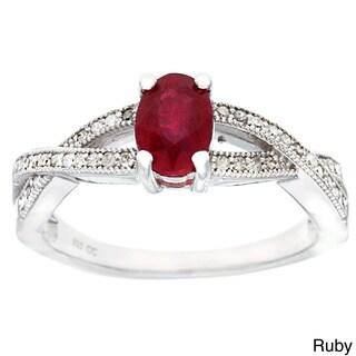 Viducci Sterling Silver 1/4ct TDW Diamond and Gemstone Ring (G-H, I1-I2)