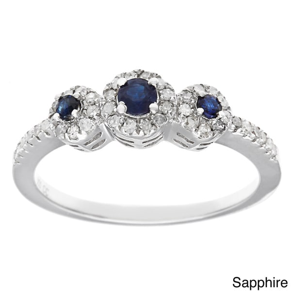 Viducci Sterling Silver Sapphire and 1/3ct Diamond Ring (G-H, I1-I2)