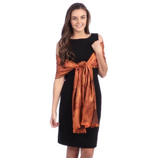 Selection Privee Paris Women's Asia Brown Orange Paisley Silk Wrap